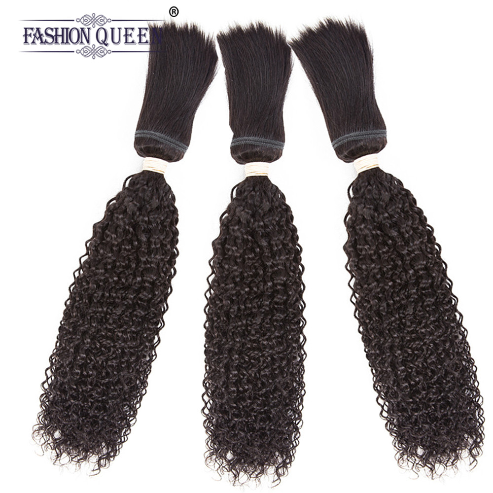 Braid in Human Hair Extensions Malaysia Kinky Curly Hair 3 Bundles 120g/Pc No Glue No Thread Braid in Hair Bundles Non-remy Hair ...