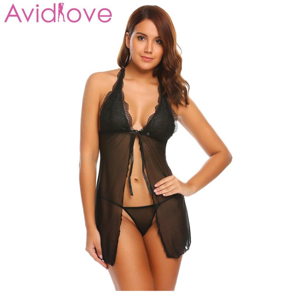 Buy Avidlove Sexy Open Babydoll Lingerie Erotic Hot Sex Costume Floral Halter Lace Short Mini Sleepwear Nightwear Exotic Apparel