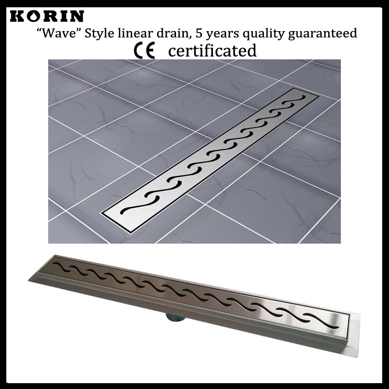 """800mm """"Wave"""" Style Stainless Steel 304 Linear Shower Floor Drain, Vertical Shower Drain with flange, Floor Waste"""