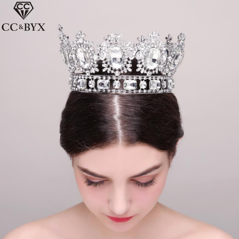 CC Tiaras And Crowns Hairbands Big Crown Luxury High Quality Engagement Wedding Hair Accessories For Bride Pageant Jewelry HG499 03 red gold bride wedding hair tiaras ancient chinese empress hat bride hair piece