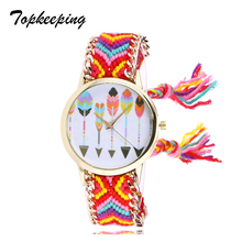 Topkeeping Brand 2018 New Women Watches Wool Woven Bracelet Strap Ethnic Retro Watch Multicolor Trend Casual Quartz Horloges