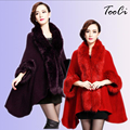 Europe Style Fashion Winter Women Faux Fur Coat Poncho Cape Outerwear Feminino Casaquinho Cardigan Shawl Cloak  5 Colours