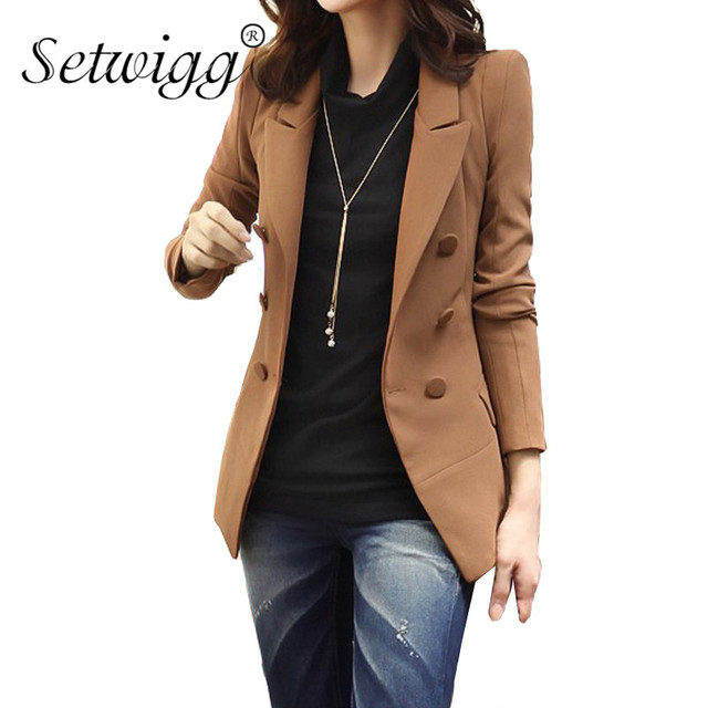 SETWIGG High Quality Women Double-breasted Cotton Lined Spring Blazers Solid Coffee Collar Pockets Slim Suit & Blazer
