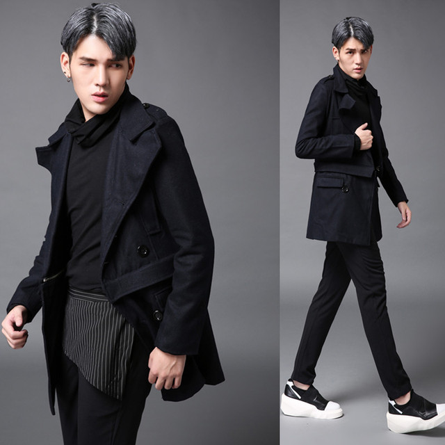 2017 Big yards men's M-5XL autumn and winter medium-long male woolen trench male personality outerwear The singer's clothing