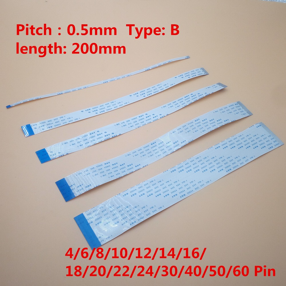 10pcs FFC 200mm 0.5mm Reverse B Type Opposite Side Flexible Flat Cable 4/6/8/10/12/14/16/18/20//30/32/40/50/60 Pin AWM 20624