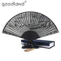 Free Shipping 1pcs Chinese Classic Top Quality Hollow out Carved Sandalwood Su Hand Fan with Gift Box