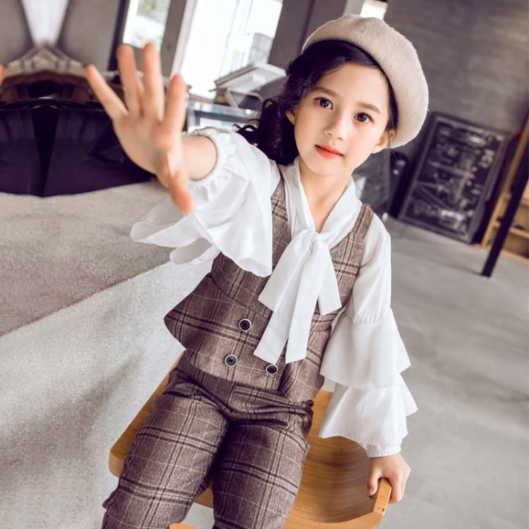 3e1e895a8b114 2019 Spring New Teenager Girls Clothing Set Children Outfit 3 Pcs White  Blouses Shirts + Vest + Pants Children Clothes Kid Suits