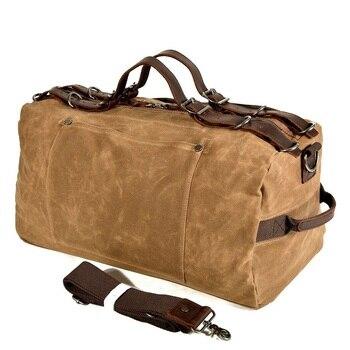 Large Capacity Men Travel Duffel Bags Vintage Waterproof Canvas Overnight Bag Leather Weekend Oversized Carry on Handbag Male