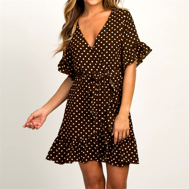 Summer Dress 19 Boho Style Beach Dress Fashion Short Sleeve V-neck Polka Dot A-line Party Dress Sundress Vestidos 20