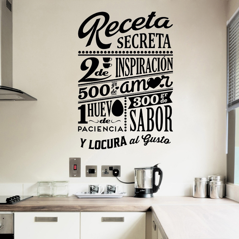 Projeto da etiqueta Receta com Receita Secreta Wall Decor Cozinha Vinil Decalques Da Arte Da Parede Da Cozinha Telha a Decoração Da Casa Poster Decoração Da Casa