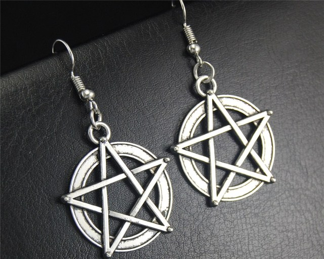 Wicca Pentacle Dangle Drop Earrings