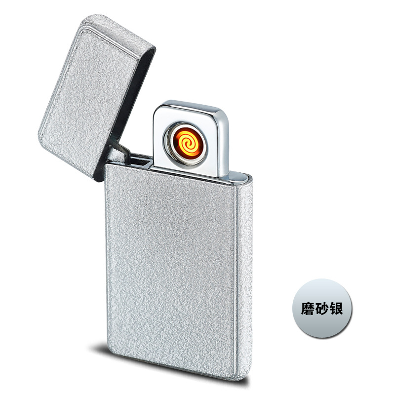 USB Rechargeable Plasma lighter Ultra-thin Metal Flameless Electric Double Arc Pulse Windproof Cigar Cigarette lighters HB105