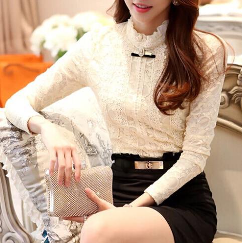Winter Plus Size XXL Lace Shirts 2014 Korean Vintage Women Blouses Long Sleeve Black Beige Camisa Feminina Tops - Just Buy Me store