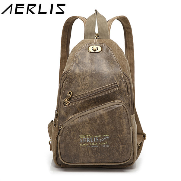 Fashion AERLIS Men Women Casual Bag Multifunction Pack Travel Canvas PU Leather Crossbody 2016 New casual canvas satchel men sling bag