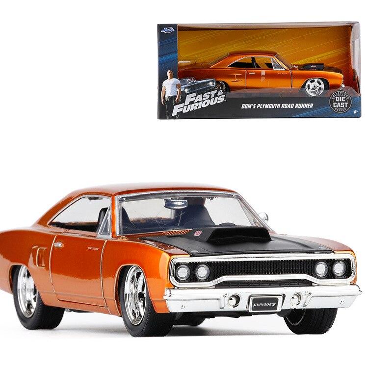 1:24 JADA Jouets Film Fast & Furious 8 modèle de voiture moulé voitures jouets de Dom Plymouth Road Runner