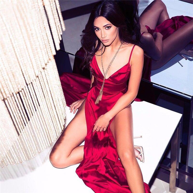 Corps Con Femmes Robes Starp Spéciale De Célébrité Gros Rouge Nu Sexy Mode Robe Col Soirée Profond Spaghetti En Partie V Dos Offre Fente 8PwXn0kO