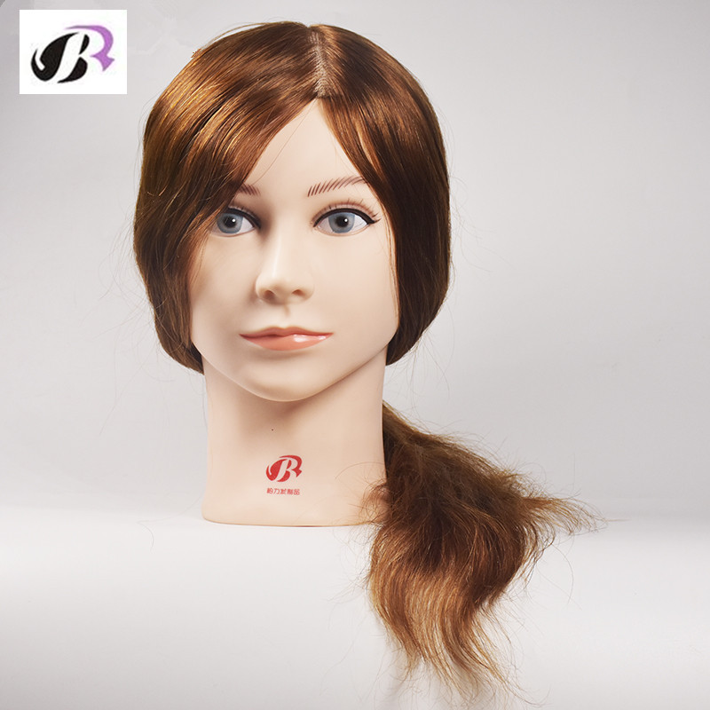 16 Inch Hairdressing Mannequin Head Hair Training Doll Mannequins With 100% Virgin Human Hair Hairstyles Training Mannequin Head hot sale 8 male mannequin head 100% virgin human hair hairdressing training head hairstyles manikin head dolls with free clamp