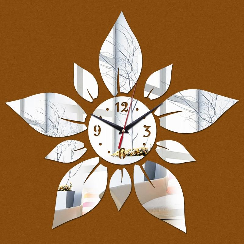 Big flowers acrylic wall clock modern modern design for 3d acrylic mirror wall sticker clock decoration decor