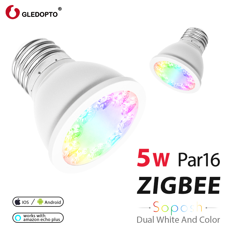 GLEDOPTO Rgb And Dual White 5W E27 PAR16 Bulb WW/CW Spotlight 2700-6500K LED AC100-240V Zigbee Smart Home Work With Echo Plus AC