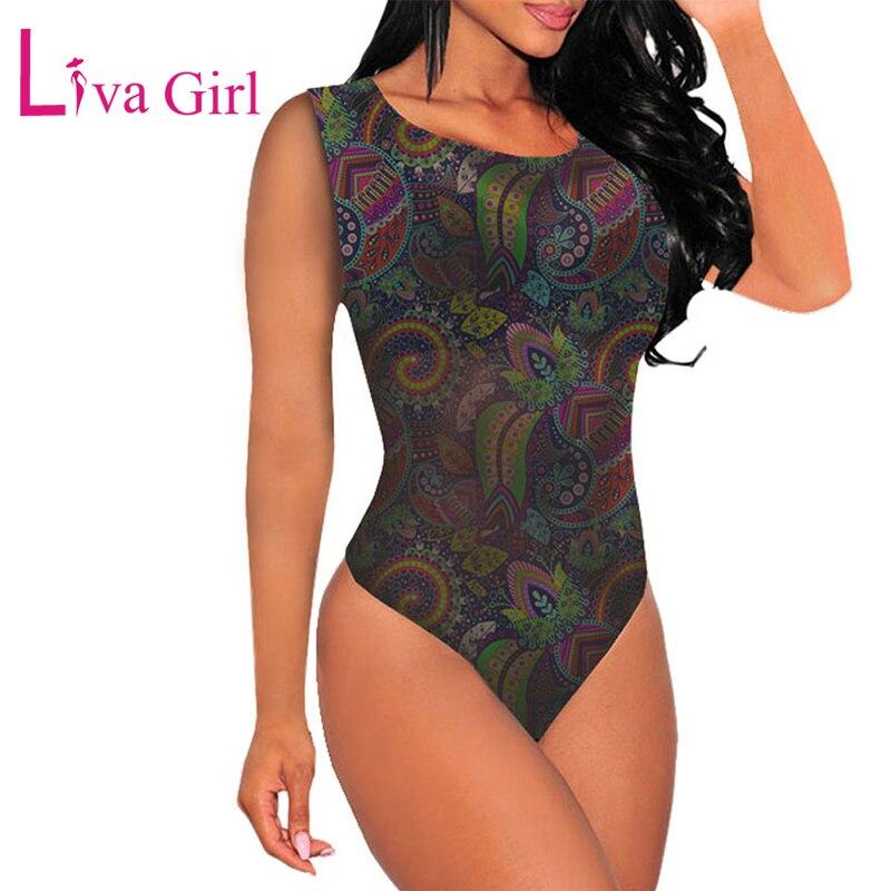 LIVA GIRL Bohemian Print Women Bodysuit Elastic Bodycon Sleeveless Bodysuits Female Skinny Jumpsuits Body Tops Combinaison Femme in Bodysuits from Women 39 s Clothing