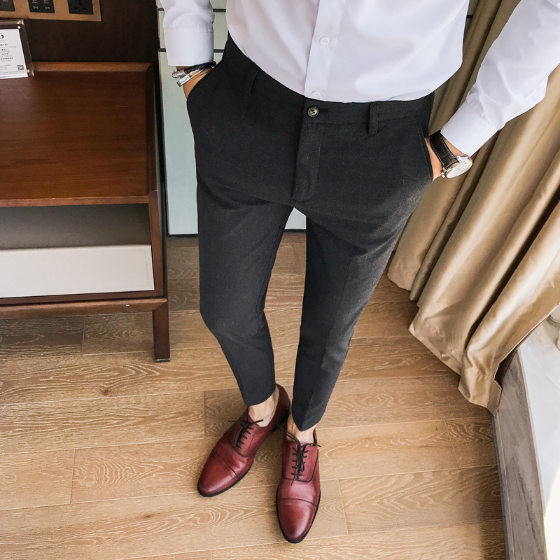 Black/dark Gray Dress Pants Men Top Quality Slim Fit Casual Mens Pants All Match Gentlemen Business Trousers Men's Clothing 36 With The Best Service