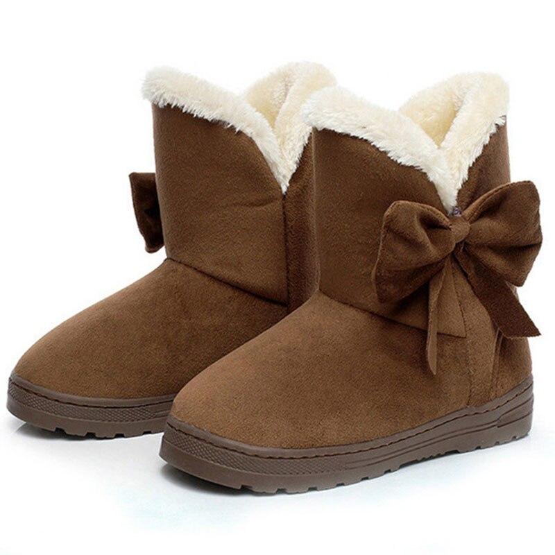 Las mujeres nieve botas de invierno mujer tobillo botas más caliente de peluche pajarita de piel de gamuza de goma plana deslizamiento en 2018 de plataforma de moda de las señoras zapatos