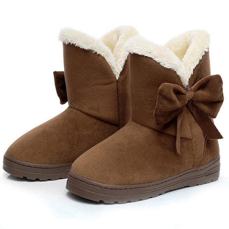 Women Snow Boots Winter Female Ankle Boots Warmer Plush Bowtie Fur Suede Rubber Flat Slip On