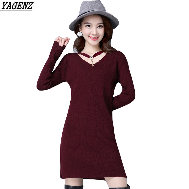 все цены на Women Sweater Dress 2017Spring Autumn Elastic Sexy Knitted Dress V-neck Long Sleeves Side-split Sweater Dress Female YAGENZ 321