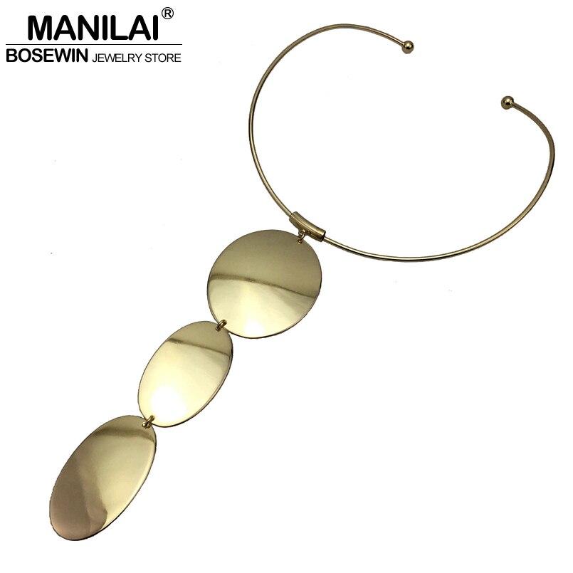 MANILAI Simple Design Women Torques Choker Necklace Fashion Alloy Long Pendants Statement Necklaces 2018 Jewelry Accessories