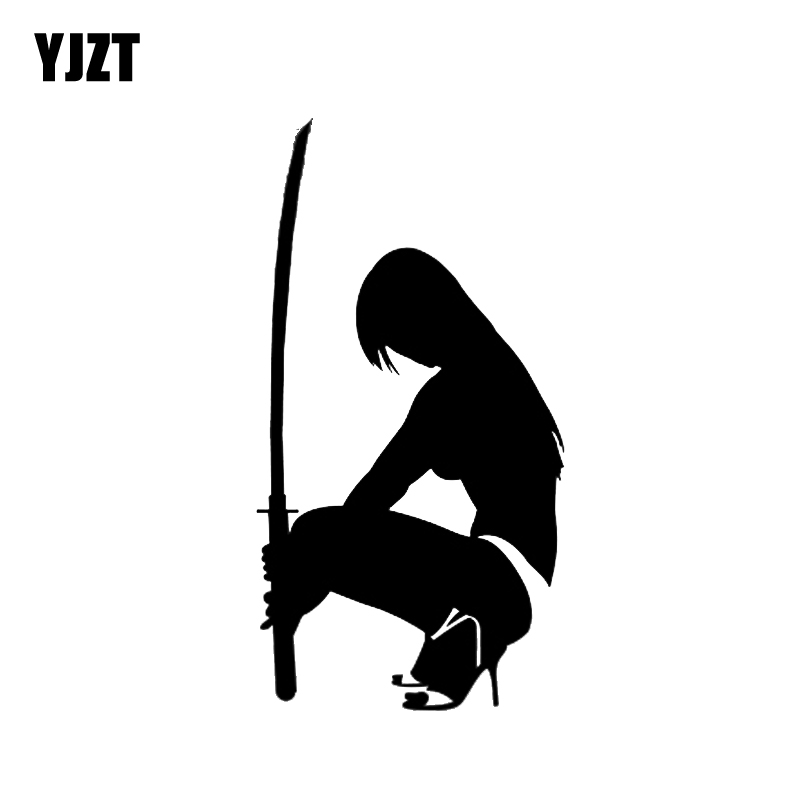 YJZT 7.8*14.8CM Sexy Samurai Girl Black/Silver Skillful Manufacture Vinyl Decals Covering The Body Nice Design C20-0300