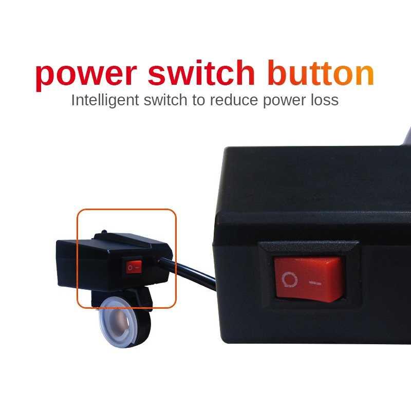 Motorcycle 12V Socket Scooter USB Charger LED Digital Display Voltmeter Power Switch Car & Autocycle Dual USB Cigarette Socket