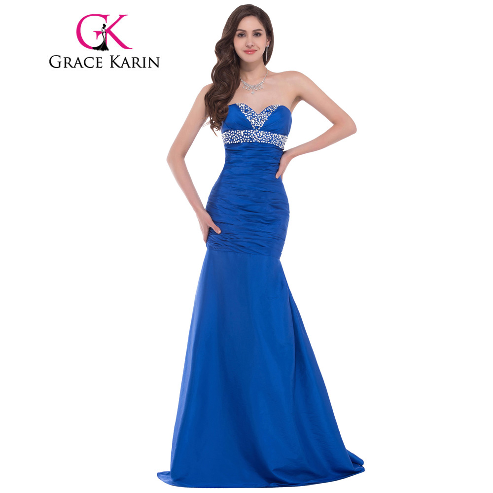 Grace Karin Mermaid Prom Dresses 2018 Sapphire Royal Blue Elegant