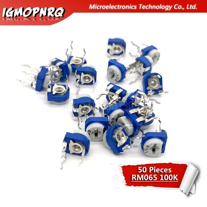 50pcs RM065 RM-065 100K Ohm 104 Trimpot Trimmer Potentiometer Horizontal Blue And White Potentiometer
