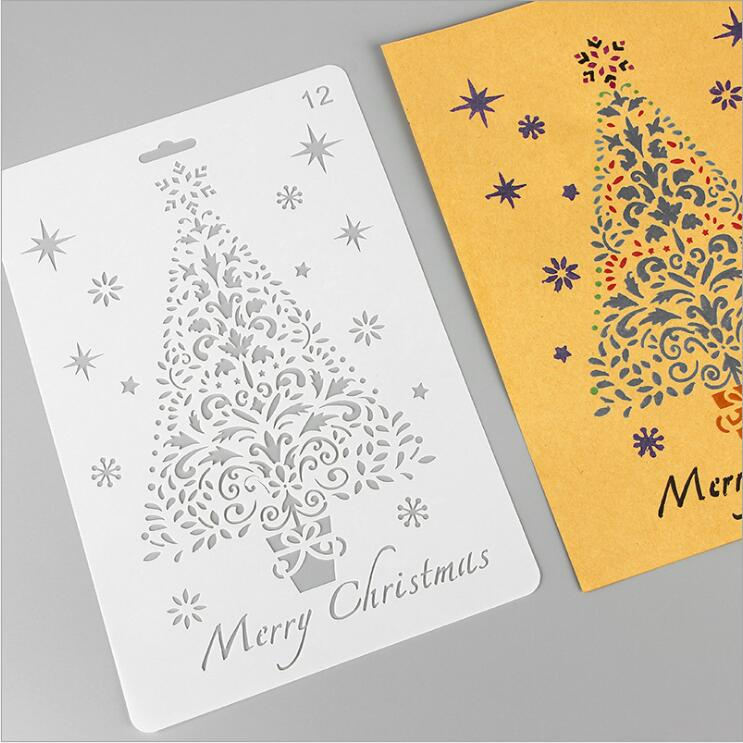 Christmas Tree Stencil Template Christams Card Making Stencil For DIY Scrapbooking Backg ...