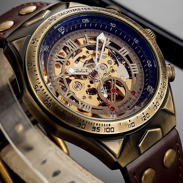 メンズ腕時計 2019 自動機械式腕時計レザーストラップヴィンテージスケルトン時計腕時計レロジオ masculino