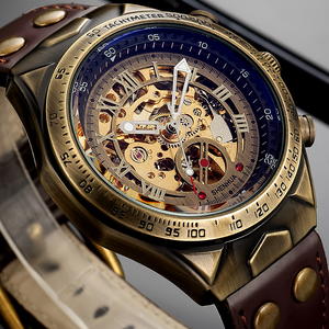 Image 1 - Mens Watch 2019 Automatic Mechanical Wristwatches Leather Strap Vintage Skeleton Clock Man Military Watches relogio masculino