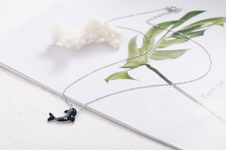 dolphin silver necklace for women 8