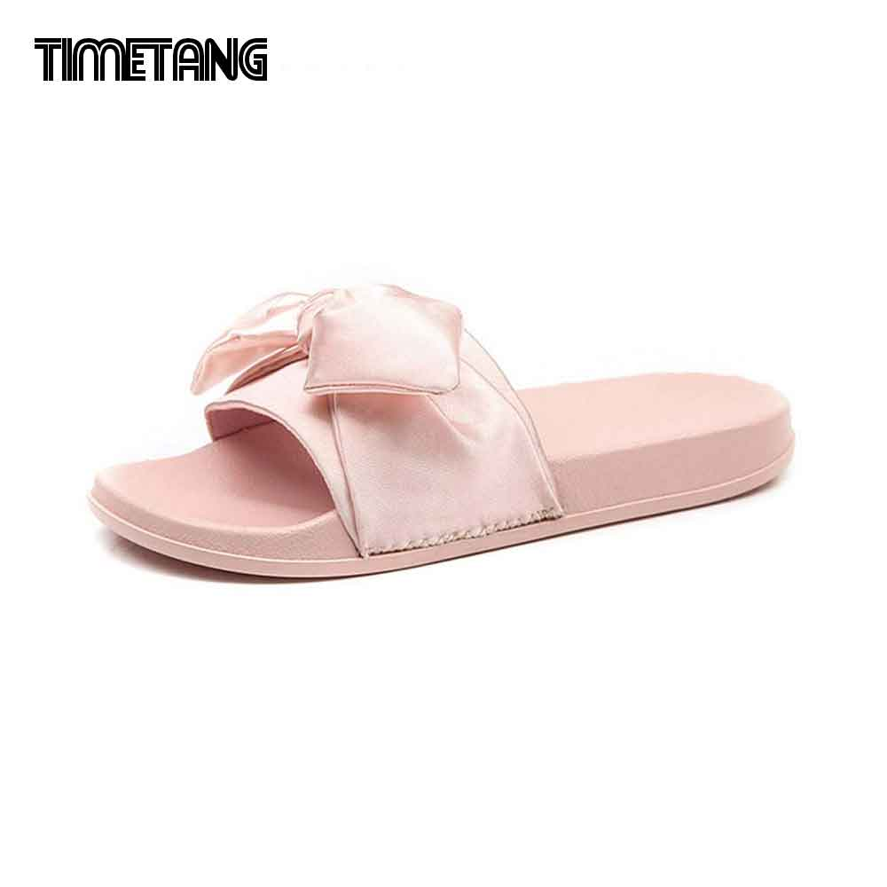 Silk Bow Slides Women Summer Beach Shoes Woman No Fur Slippers Flat Heels Flip Flops Ladies