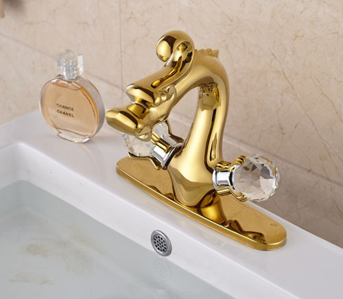 Golden Brass Dragon Shape Bathroom Basin Faucet Two Crystal Handles Mixer Tap With Cover Plate комплект для татуировки oem 1 gig set golden dragon
