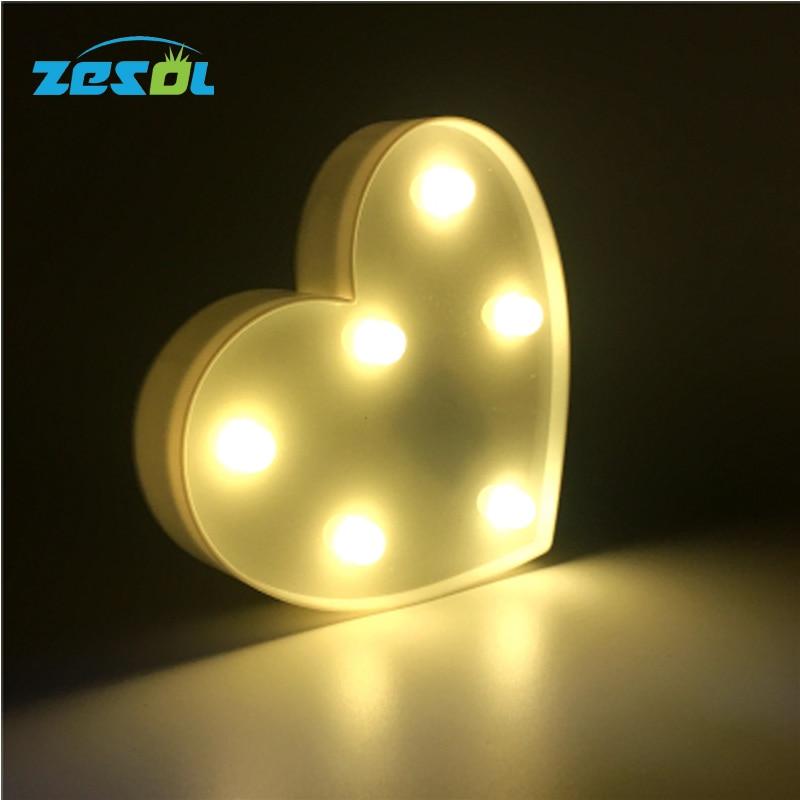 ZESOL Cute 3D Love Heart Marquee bord LED natt lys batteri skrivebord WeddingDecoration Julegave til Child Bedroom Toy lampe