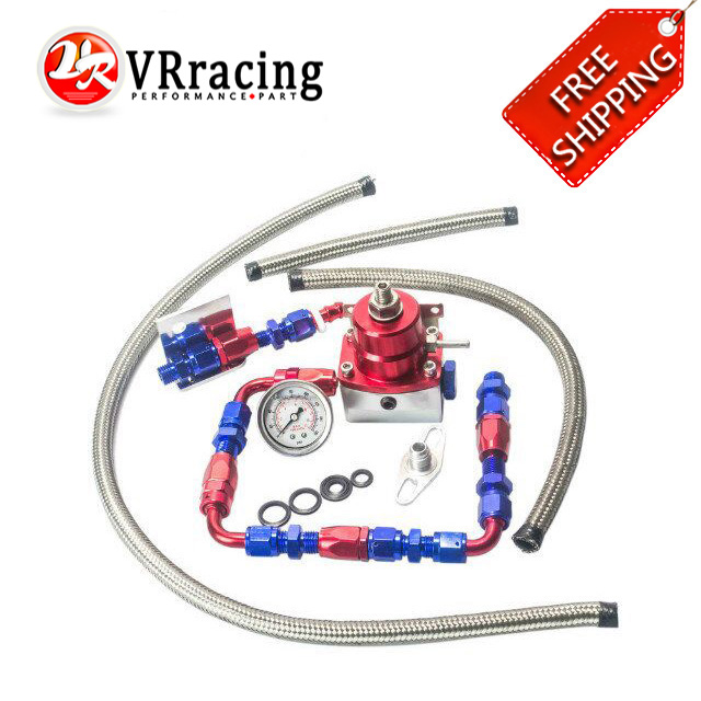 FREE SHIPPING auto Universal fpr AN6 Fittings fuel pressure regulator For 7MGTE MKIII with hose line.Fittings.Gauge