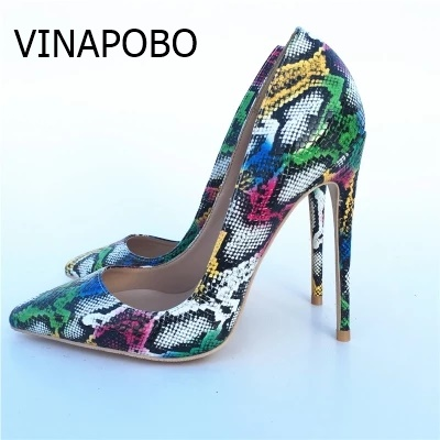 VINAPOBO Autums Spring New Women Pumps Snake Pattern Mixed Color Ladies Sexy Wedding High Heel Shoes
