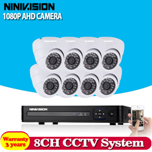 White Dome HD 8CH AHD DVR Kit 2.0MP Security Cameras System 8*1080P Day Night Vision CCTV Home Security Camera Kits