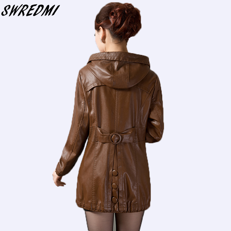 Long plus size 5XL   leather   clothing women new 2018 spring jackets laides slim fashion coats outerwear   leather   jacket women black