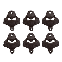 Top Grand 6Pcs Rustic Cast Iron Open Here Wall Mounted Beer Bottle Opener Soda Free Shipping