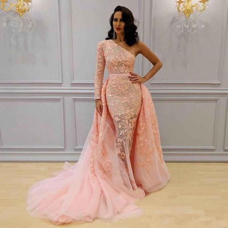 Newest 2019   Prom     Dress   Long With Detachable Train One Shoulder Long Sleeve Appliqued Lace Evening Gown
