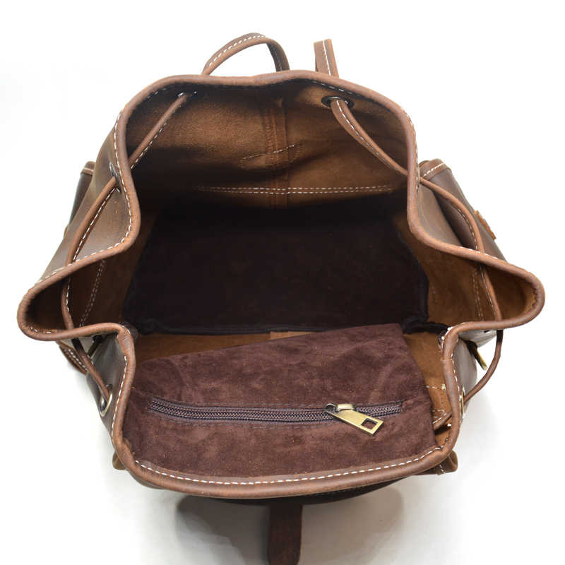 Ransel Kulit Pria Mewah Kapasitas Besar Coklat Kulit Kuda Gila Tas Travel Vintage Mahasiswa Ransel Tas Komputer Pria Mochila
