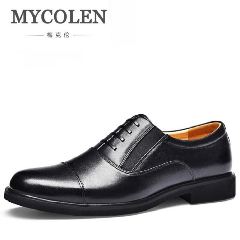 MYCOLEN Gentlemen Hand-painted Genuine Leather Lace Up Black Oxfords Party Wedding Casual Footwear Luxury Brand Men Dress Shoes ремни lee ремень gentlemen