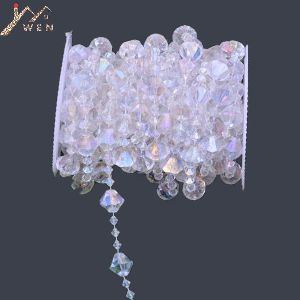10M/ Roll yeni gökkuşağı akrilik kristal boncuk Garland elmas Strand DIY düğün Centerpieces ağaç dekor