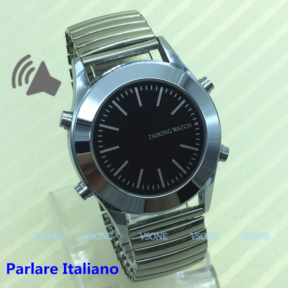 Italian Talking Watch For Blind People Or Visually Impaired With Alarm Clock Quartz Watch Parlare Italiano